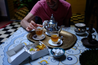 Strong mint tea and Moroccan sweets all the time.